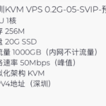 企鹅小屋 深圳KVM VPS 0.2G-05-SVIP