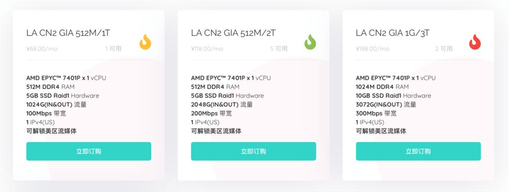 MoeCloud 洛杉矶CN2 GIA套餐